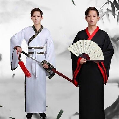 £15.87 • Buy Men Ancient Chinese Costume Swordsman Knights Hanfu Skirt Performance Outfit Red