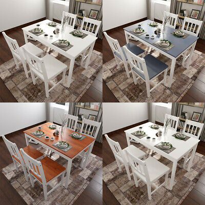 DINING Rectangle Table And 4 Chairs Set Quality Solid Wooden Choice Of Colours • 55.99£