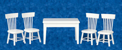 White Wood Table & Four Chairs, Dolls House Miniatures, Kitchen Furniture • 14.99£