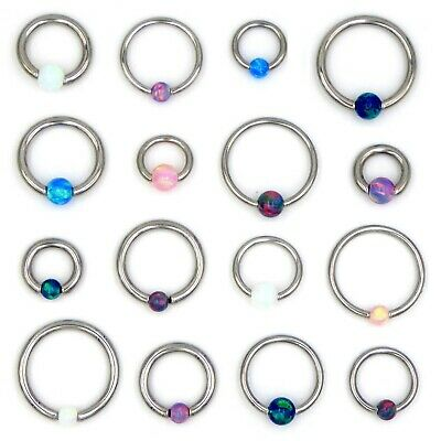 Opal Captive Bead Ring BCR Tragus Cartilage Helix Daith Lip Septum Hoop Ring • 3.82£