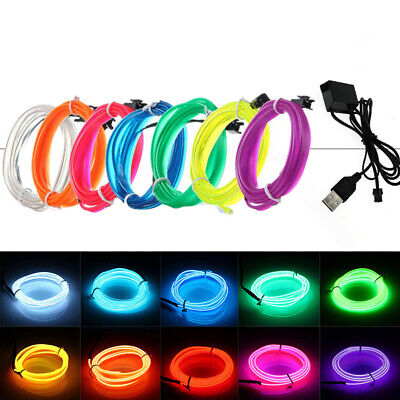 $4.99 • Buy Neon LED Light Glow EL Wire String Strip Rope Tube Decor Party + USB Controller