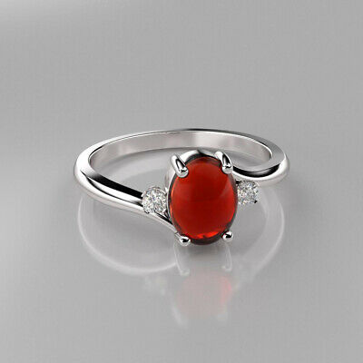 £100.60 • Buy Natural Mexican Fire Opal Ring Sterling Silver 925 / Genuine Sapphire / Oval-Cut