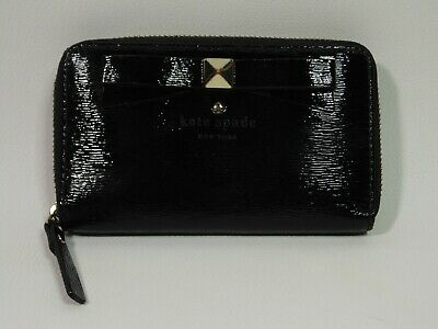 $ CDN69 • Buy KATE SPADE Black Nisha Bow Beacon Court Clutch Purse Top Zip WALLET Vintage Used