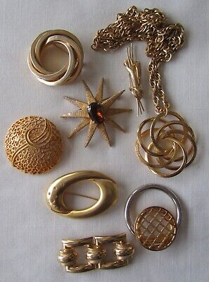 $ CDN35 • Buy Vintage Lot Of 8 Gold Tone Brooches And Necklace