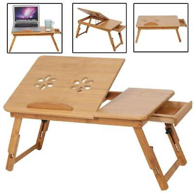 Bamboo Adjustable Folding Laptop Lap Table Bed Tray PC Desk Stand W/ Cooling Fan • 14.99£