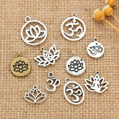 $ CDN1.48 • Buy 10Pcs Mixed Style Chakra Charm Yoga Lotus Pendants DIY Jewelry Making Findings
