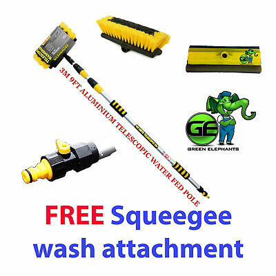 3M Extendable Pole Water Fed Telescopic Hose Wash Brush Window Cleaner Squeegee • 24.95£