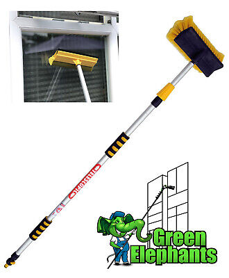 2M Extendable Pole Water Fed Telescopic Hose Wash Brush Window Squeegee Cleaner • 24.95£