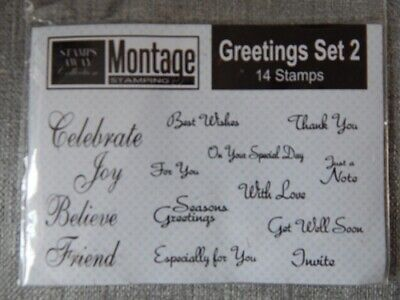 £4.99 • Buy Stamps Away Montage GREETINGS SET 2 Clear Stamps