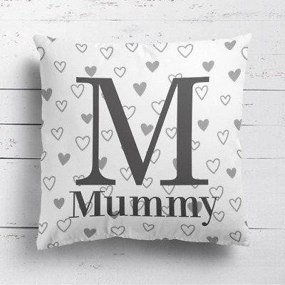 Personalised Grey Name & Initial Love Hearts Cushion Cover Pillow Case & Filling • 14.99£