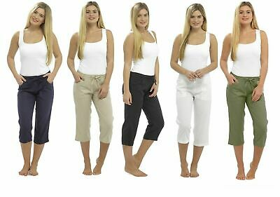 Ladies Cropped Linen Trousers Womens 3/4 Length Shorts UK Size 10 12 14 16 18 20 • 15.99£