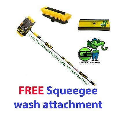 Telescopic Water Fed Pole Cleaning Brush Window Cleaner Soft Bristle Tips 2.1M • 24£