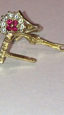 AU380 • Buy 14ct Yellow Gold Diamond And Red Sapphire Earrings