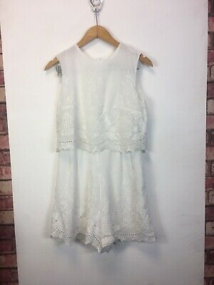 Hearts And Bows Dress Sleeveless White Size 12 Playsuit • 9.99£