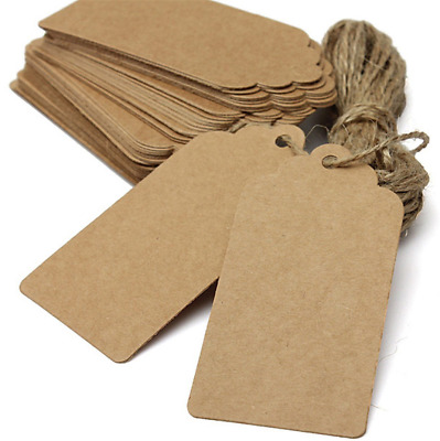 100pcs Brown Kraft Paper Scallop Label Luggage Gift Tags DIY Card With String • 2.99£
