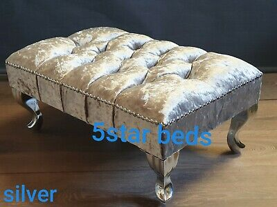 £39.99 • Buy Foot Rest Pouffe Stool Queen Anne Legs Silver Crushed  Velvet New Style