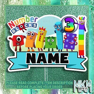 £4.99 • Buy NUMBER BLOCKS Personalised STAND UP Card Cake Topper HAPPY BIRTHDAY ANY NAME AGE