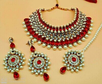 $19 • Buy Bollywood Indian Bridal Jewelry Gold Plated Kundan Pearl Necklace Earrings Tikka