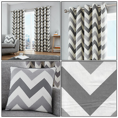Grey Silver Chevron Zig-Zag Geometric Print Lined Eyelet/Ring Top Curtains Pair  • 19.99£