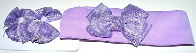 NEW Purple Metallic Hair Clips With Matching Bow Headband Bandeaux Childrens • 3.49£