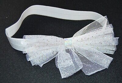 NEW White Elasticated Fabric With Glitter Bow Headband Bandeaux Childrens Hair • 2.99£