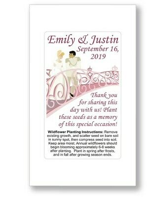 50 - Personalized Cinderella Fairy Tale Wedding Bridal Favors Seed Packets Pink • 18.28£