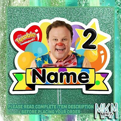 £4.99 • Buy Mr Tumble Personalised  STAND UP Card Cake Topper HAPPY BIRTHDAY ANY NAME & AGE