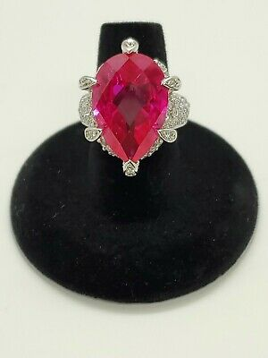 $48 • Buy Charles Winston Sterling Silver Pear Cut Ruby Ring