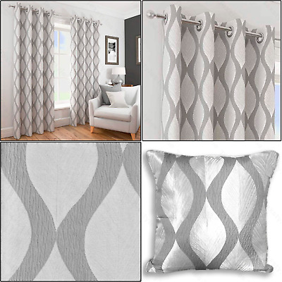 Silver Grey Deco Geometric Wave Textured Lined Eyelet Top Ring Top Curtains Pair • 7.99£
