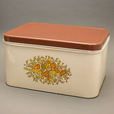 Vintage 70s Brown And Beige Tin Bread Box • 35$