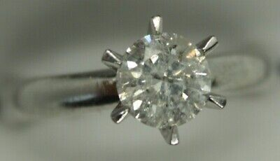 AU1997 • Buy 100% Genuine 18k Solid White Gold Natural 0.79CT Diamond SOLITAIRE Ring Sz 6.25