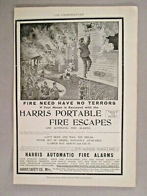Harris Portable Fire Escape & Alarm PRINT AD - 1899 ~~ Rope Ladder • 8.48£