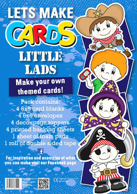 Complete Lets Make Cards Birthday Kit,childrens Cut Create Decoupage Little Lads • 4.99£