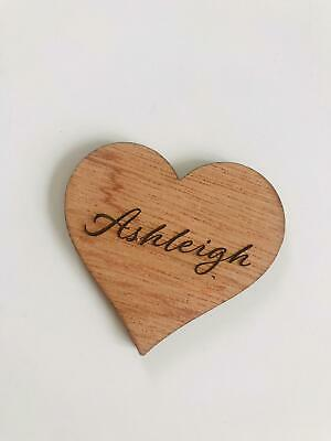 £22.50 • Buy Wooden LOVE HEARTS  Personalised Engraved Place Name Favours Wedding Christmas