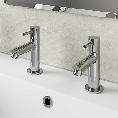 £26.99 • Buy Modern Bathroom Basin Taps Hot & Cold Pair Twin Chrome Lever Handle Solid Brass