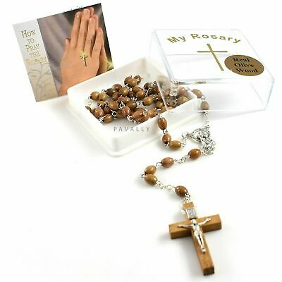 BROWN WOODEN ROSARY NECKLACE Prayer OLIVE WOOD Beads Catholic Crucifix BOXED NEW • 6.49£