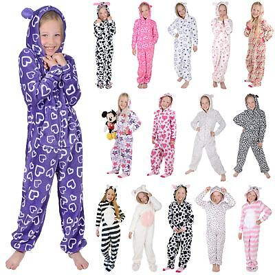 Girls Fleece All In One Piece Pyjamas Jump Sleep Suit PJ Hooded Nightwear • 10£