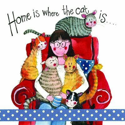 Cat Lover Card - Home Is Where The Cat Is Sparkle - Alex Clark Birthday New Home • 3.75£