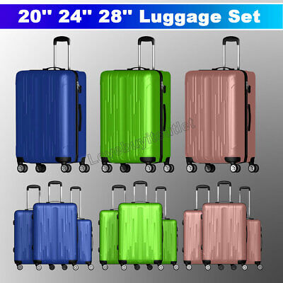 """View Details 3 Pieces Luggage Set Travel Bag ABS Trolley Spinner Suitcase W/Lock 20"""" 24"""" 28"""" • 74.95$"""