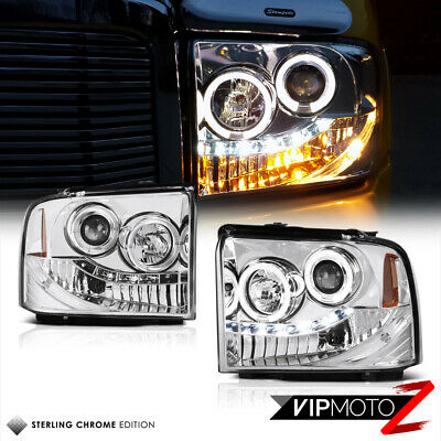 AU218.84 • Buy 2005 2006 2007 Ford F250 F350 Super Duty SD Chrome Halo LED Projector Headlights