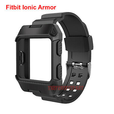 $ CDN10.87 • Buy Black Armor For Fitbit Ionic Rugged Band Protective Case Large Wristband Strap