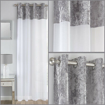 Silver Grey Crushed Velvet Band Voile Net Panels Curtain Eyelet Ring Top Panel • 12.99£