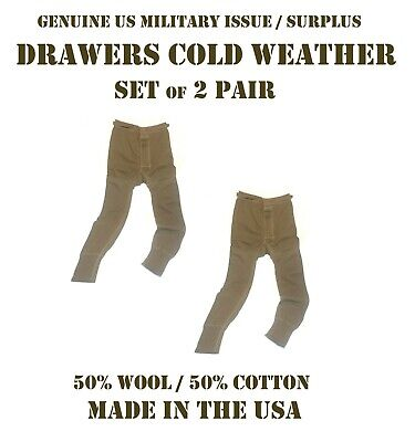 $28.95 • Buy US MILITARY EARLY ECWCS THERMAL DRAWERS COLD WEATHER MEN'S XS 50% WOOL SET Of 2