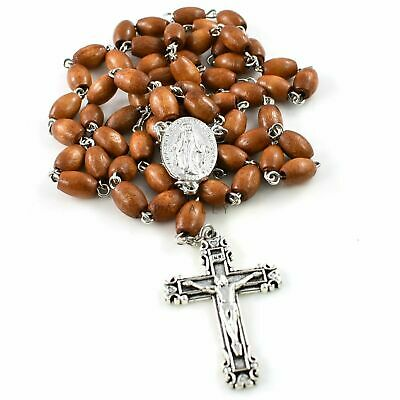 BROWN WOODEN ROSARY NECKLACE Prayer OUR LADY OF GRACE Wood Catholic Crucifix NEW • 4.49£