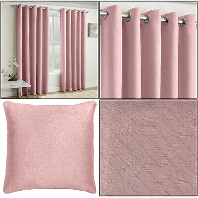Blush Pink Vogue Thermal Blockout Lined Ready Made Eyelet Ring Top Curtains Pair • 26.99£