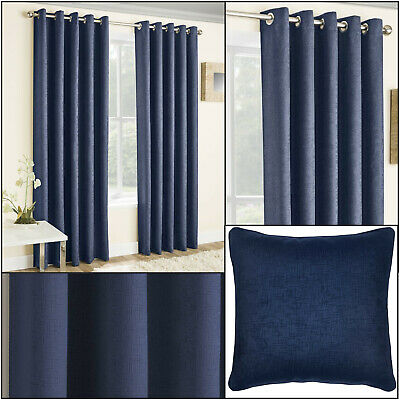 Navy Vogue Thermal Blockout Lined Ready Made Eyelet Top Ring Top Curtains Pair • 27.99£