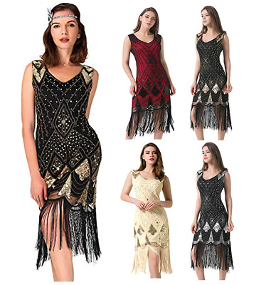 $29.98 • Buy Gatsby Dresses Flapper 1920s Beaded Great Party Vintage Sequin Womens S Fringed