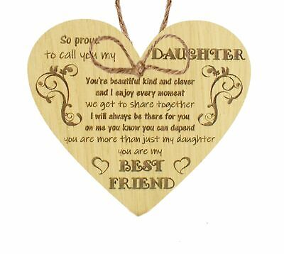 £3.99 • Buy Daughter Gifts From Mum Dad Oak Wooden Heart Plaque Birthday Christmas Thank You