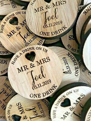 Wooden Drink Tokens ANY TEXT LOGO Personalised Rustic Wedding Guest Favours GIFT • 4.49£