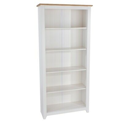 £137.99 • Buy White Tall Bookcase With Solid Pine Top Kitchen Bathroom Storage Cabinet Arizona